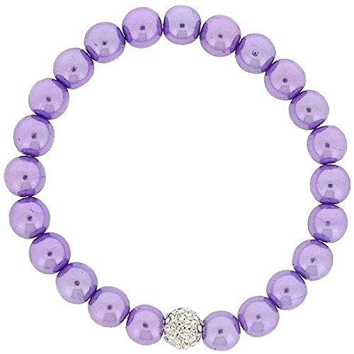 Lilac Simulated Pearl and Rhinestone Disco Ball Bead Stretch Bracelet