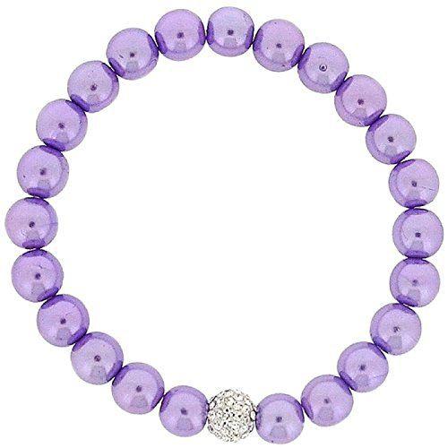 Lilac Simulated Pearl and Rhinestone Disco Ball Bead Stretch Bracelet
