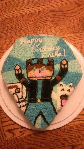 Minecraft cake.  The Diamond Minecart!