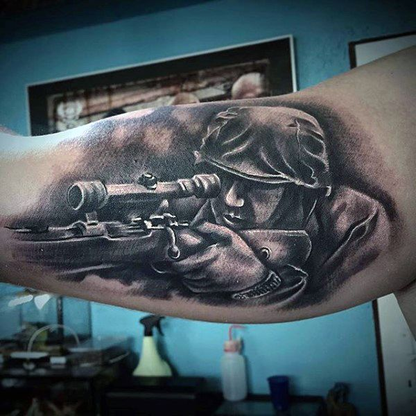 Bicep Sniper US Army Tattoo Designs Men