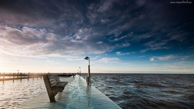 Molo, Ławka, Latarnie, Morze