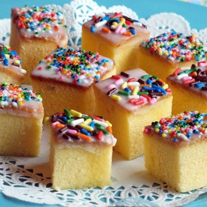 """Tiny Teacakes using ready made pound cake - these totally aren't petit fours, I realize that.  However they are cute, fun, and easy and would do in a """"pinch.""""  Especially for little girls!"""