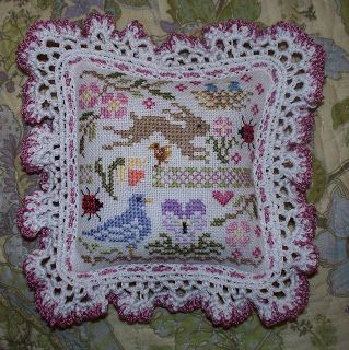 Just Nan spring cross stitch pillow ornament