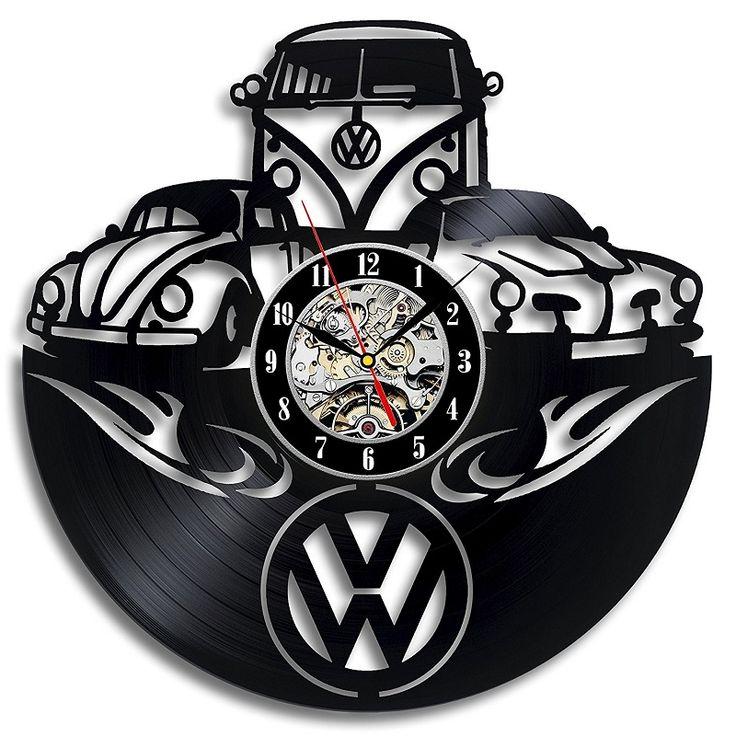 Insignia del coche Volkswagen Disco de Vinilo Reloj de Pared Regalo para el Amigo 3D Decorativos Colgantes Decoración Reloj Reloj de Pared Clásico