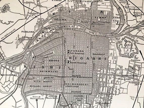 1915.JAPÓN.Mapa de OSAKA-Lámina en blanco y negro.30 cm. x 24
