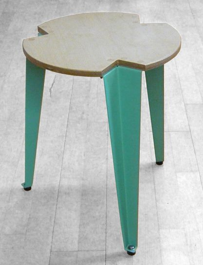 Klaus Vogt; Birch Plywood and Enameled Metal Stool, 1962.