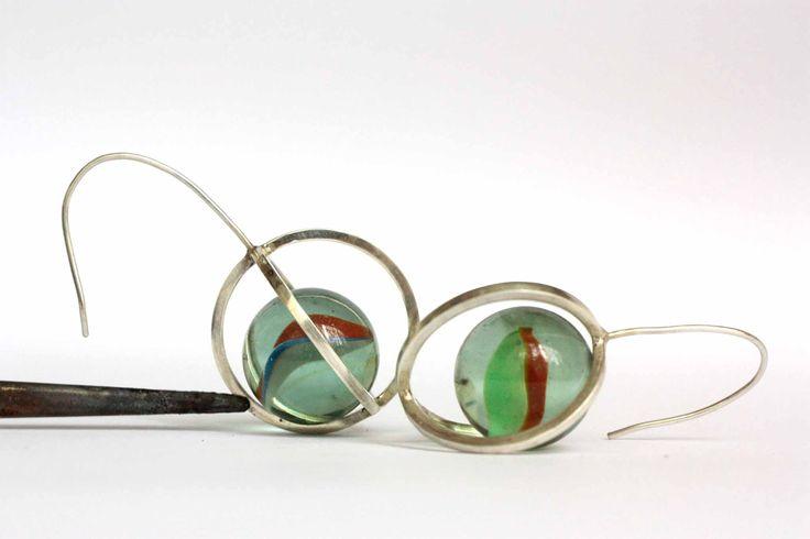 Original art jewelry marble earrings by UZURA