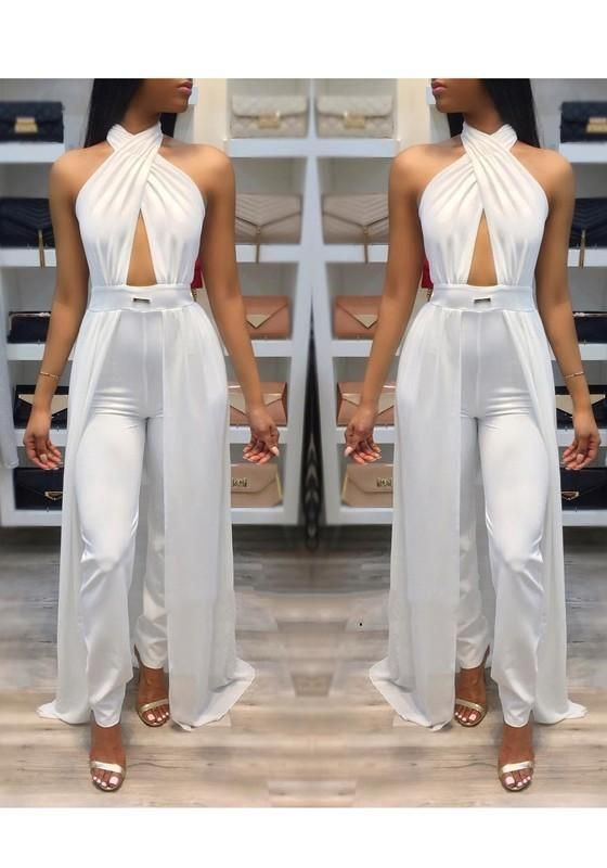 bcd38f4a8b0 White Halter Neck Backless High Waisted Long Jumpsuit With Overlay ...