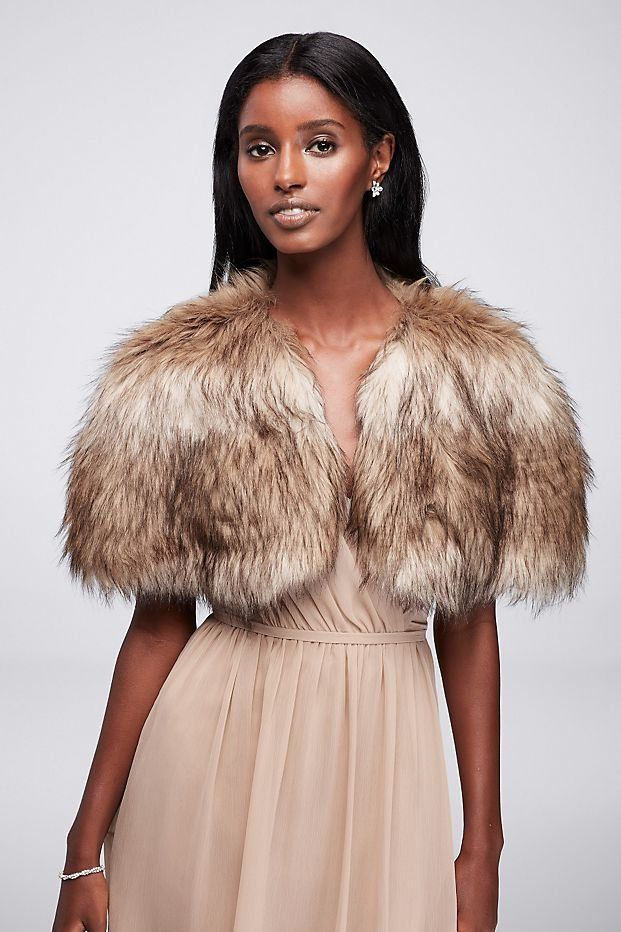 Faux Fur Wedding Dress Shrug available at David's Bridal