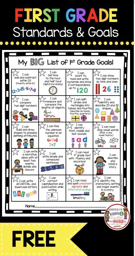 First Grade Goals and Awards FREEBIE — Keeping My Kiddo Busy