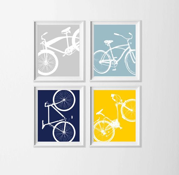 Bicycle Art Prints , Kid's Room Bike Wall Art , Nursery Boy Wall Decor , Bicycle Wall Decor Navy Yellow Grey Playroom Artwork , Set 4 Bike