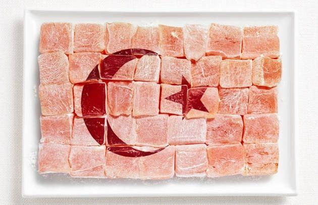 national flag made food drapeaux du monde version food Turquie – Loukoums