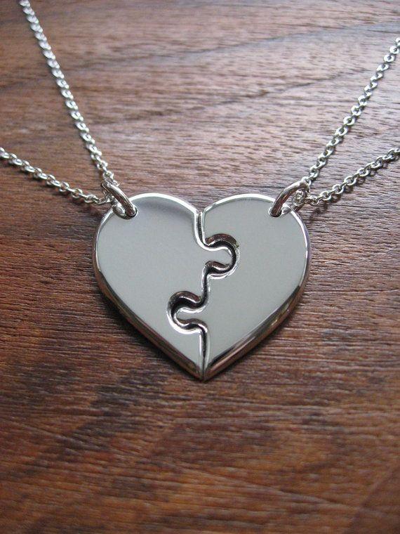 Two Best Friends Heart Pendant Necklaces on Wanelo