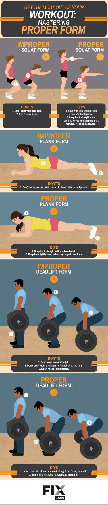Proper form will help better engage your muscles and optimize your workout. Learn tips and tricks to master squats, planks and deadlifts!