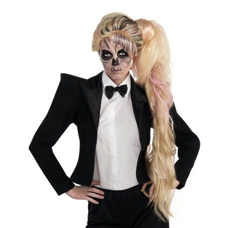 Free Shipping. Buy Lady Gaga Side Ponytail Wig Long Blonde & Pink Zombie Skull Face Popstar Rockstar Cute Costume Outfit Accessory Merchandise Womens Teen Girl Adult One Size at Walmart.com