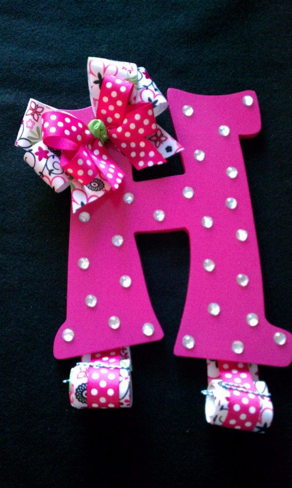 Hair Bow Holder Letter H Hot Pink  Ref H3 by dragonflyfyre on Etsy, $18.00