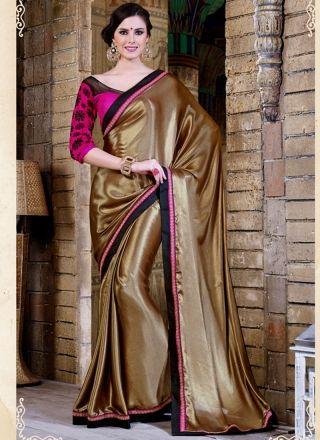 Blooming Brown Silk Designer Party Wear Saree http://www.angelnx.com/Sarees