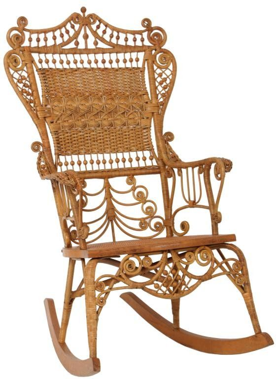 Elegant Natural Victorian Wicker Rocker