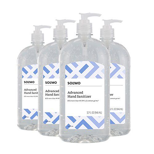 Amazon Brand Solimo Hand Sanitizer 32 Fluid Ounce Pack Of 4