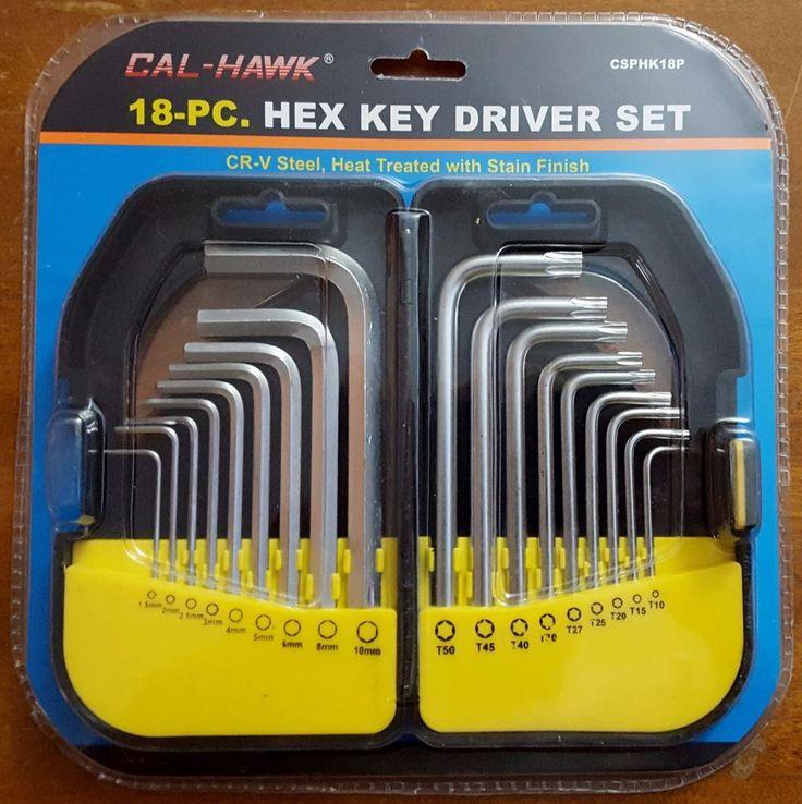 18-pc. Hex Key Driver Set Metric Hex Keys and Star Key with Heavy Duty Case CR-V #CalHawkTools