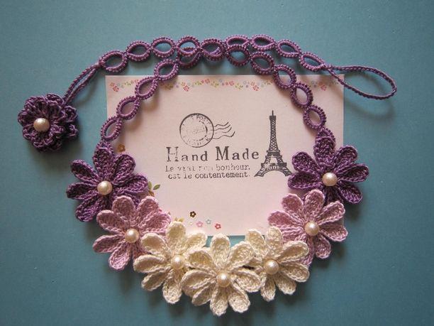 レース編みお花ネックレス(モーブ色のグラデーション)画像1