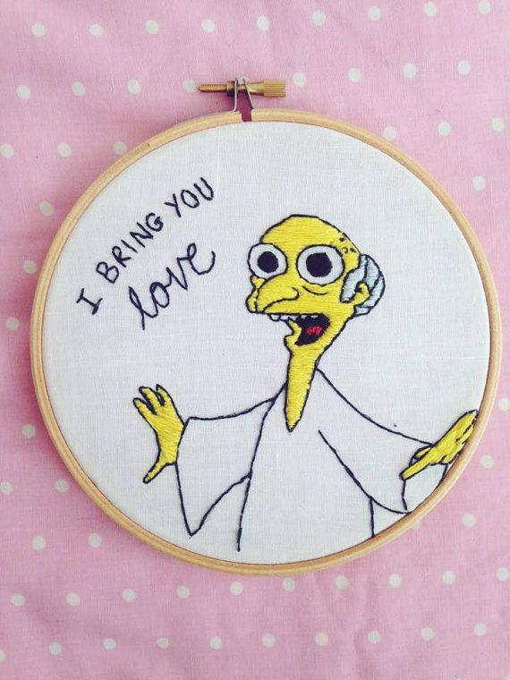 Handmade The Simpsons Mr. Burns 'I Bring You Love' Embroidery Hoop - 6""