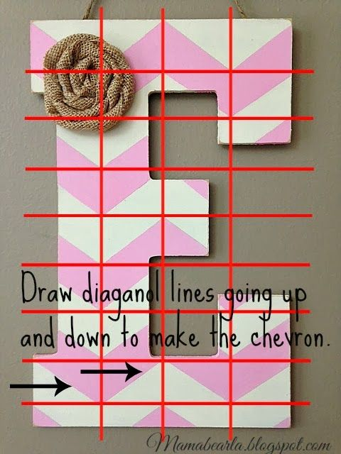 DIY Chevron Letters. How to make a template for your own pattern.  Home decor design tutorial.