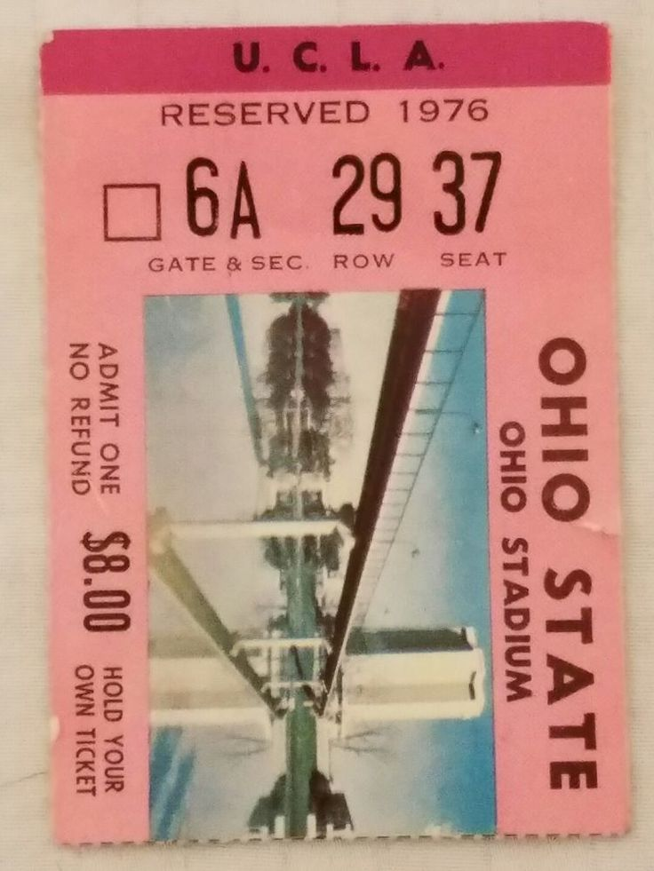 1976 #4 UCLA @ #8 OHIO STATE Football TICKET STUB Woody Hayes Terry Donahue #OhioStateUCLA