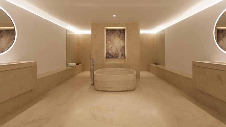 El diseñador holandés propone un baño atemporal y relajante, a través de un diseño diáfano protagonizado por la piedra natural