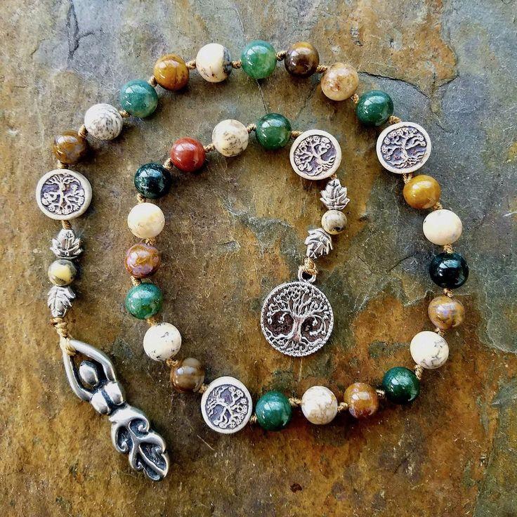Pagan Prayer Beads, Tree Spirit , Witches Prayer Beads, Pagan Rosary, Tree Goddess,Meditation Beads,Witches Ladder,Earth Element,Prayer Mala by IndigoDesertMoon on Etsy https://www.etsy.com/uk/listing/212105524/pagan-prayer-beads-tree-spirit-witches
