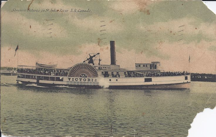 Steamer Victoria on St. John River, N.B. Canada:  Amelia's cards were graciously donated to the museum by her granddaughter, Sylvie Duquette of Lacolle, Québec. They were sent our way because of their historical link of Oromocto.   These records can be viewed at the New Brunswick Provincial Archives. They are catalogued in the York Sunbury Historical Society Collection (MC300-MS126). The correspondences on the back of the postcards have been posted on the Fredericton Region Museum Facebook…