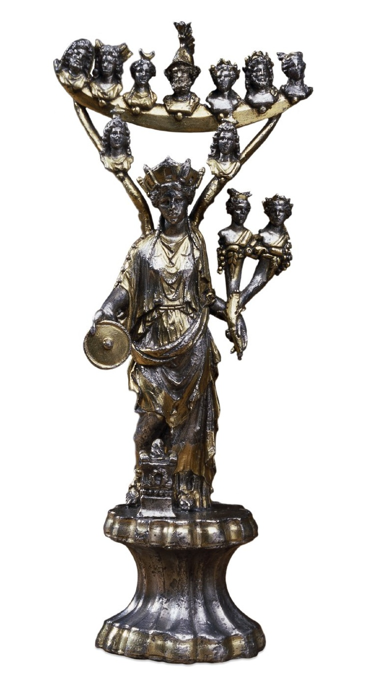 An ancient Roman silver statuette of the Gallo-Roman goddess Tutela is full of symbolic references, and includes seven busts representing the gods of the weekdays. (British Museum)