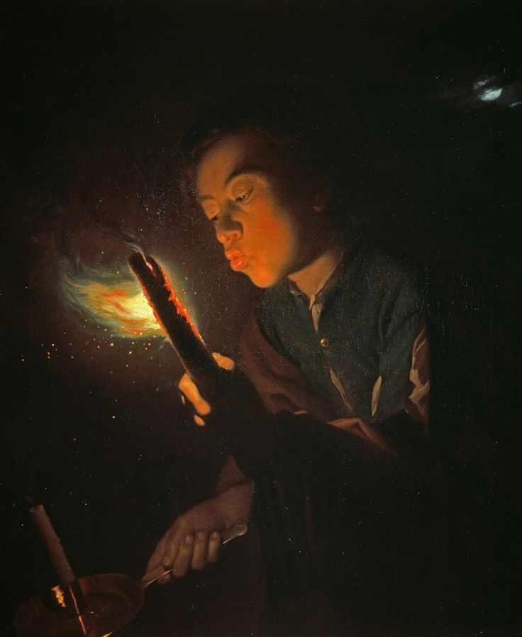 Godefridus Schalcken, Boy, blowing in a flare, 1692-96, oil on canvas, National Galeries of Scotland, Edinburgh.