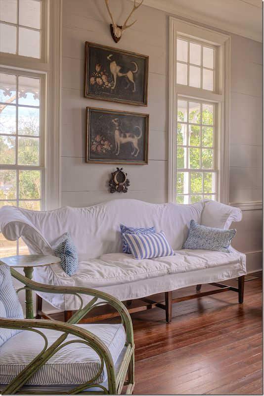 White Slipcover Panelled Walls Traditional Room With