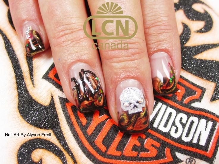 So Hot Harley Davidson Nails Lcn Gel Nails With Nail Art