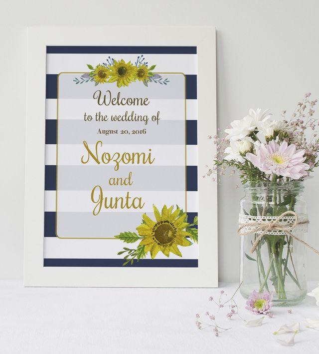 ヒマワリとボーダーで涼しげなマリン風のウェルカムボード♡モダンな結婚式におすすめしたいネイビーのウェルカムボードまとめ一覧♪