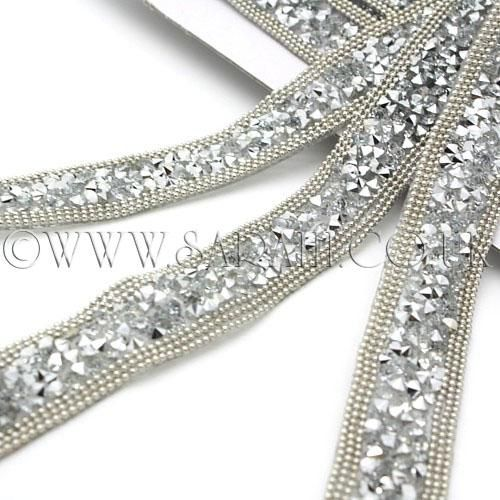PEARL rhinestone TRIM trimming,edging,EMBELLISHMENT,CRAFT,costume,craft,HOT FIX