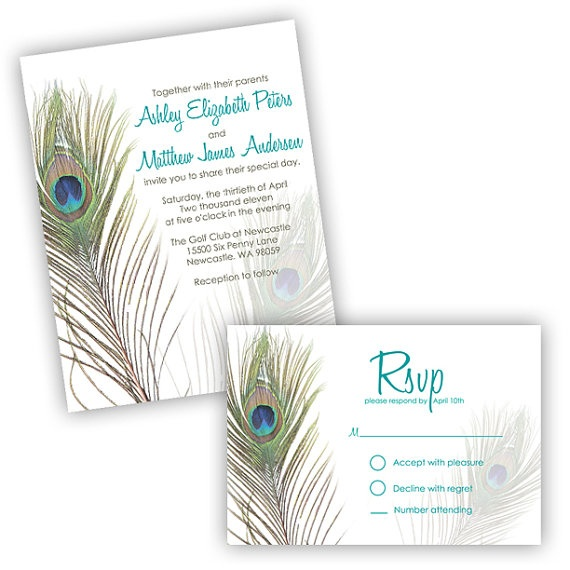 Peacock Wedding Invitations by ImpressInk on Etsy, $2.25