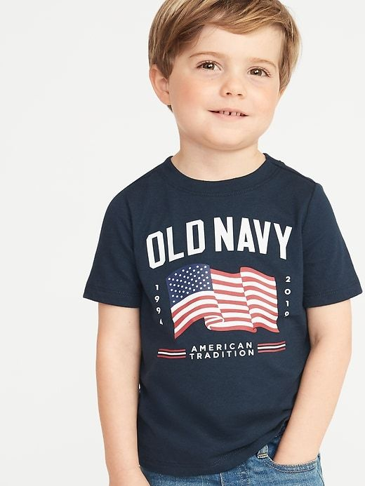6b151d02 Old Navy Toddler Boys' 2019 Flag-Graphic Crew-Neck Tee Navy Blue Regular