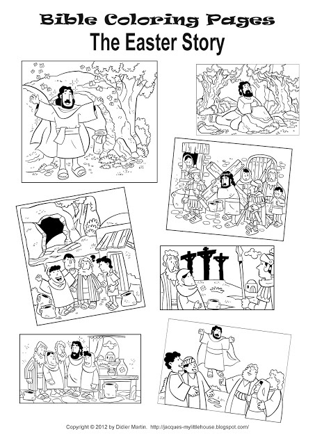Easter story coloring pages, many Bible coloring and stories to print