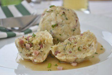 Tiroler Knödel: Austrian bread dumplings with speck and cheese.