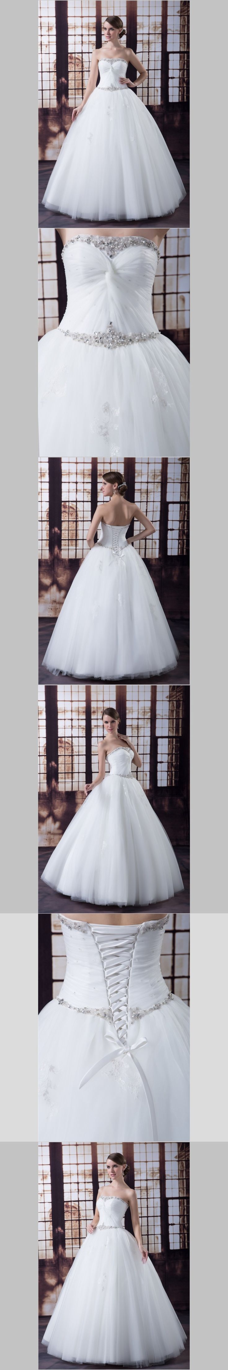 iLoveWedding Ball Gown Wedding Dresses Strapless Organza Tulle Pearls Beading Sequined Lace Up Bridal Gowns YW0023