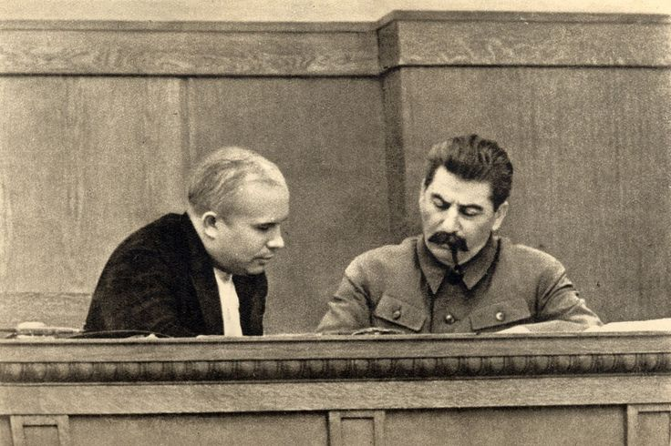 Joseph Stalin and Nikita Khrushchev by  Unknown Artist