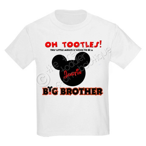 Mickey Mouse Inspired Pregnancy Announcement Big Brother Shirt Personalized with ANY Name. $13.00, via Etsy.
