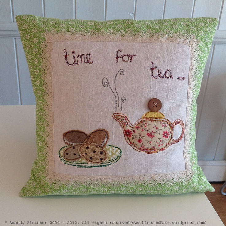 Free Motion Embroidery Cushion - Time for Tea - Teapot & Biscuits.