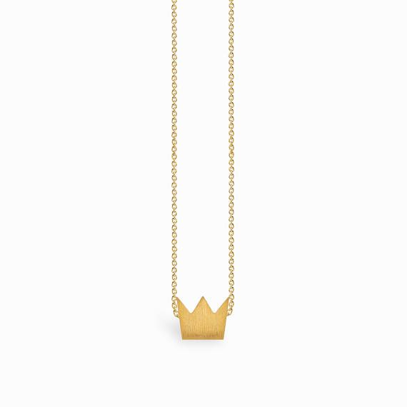 Dainty crown Necklace  Thin Gold crown   Chain Necklace
