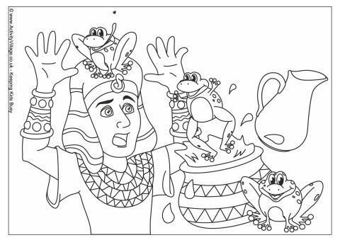 Plague of Frogs Colouring Page This Bible colouring page shows Pharaoh surprised by the plague of frogs which God sent to Egypt, just one of 12 plagues designed to encourage Pharaoh to let the Israelites leave.