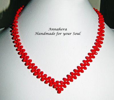 """""""ANNAHERA"""" - handmade for your soul: Colier simplu din cristale fațetete roșii"""