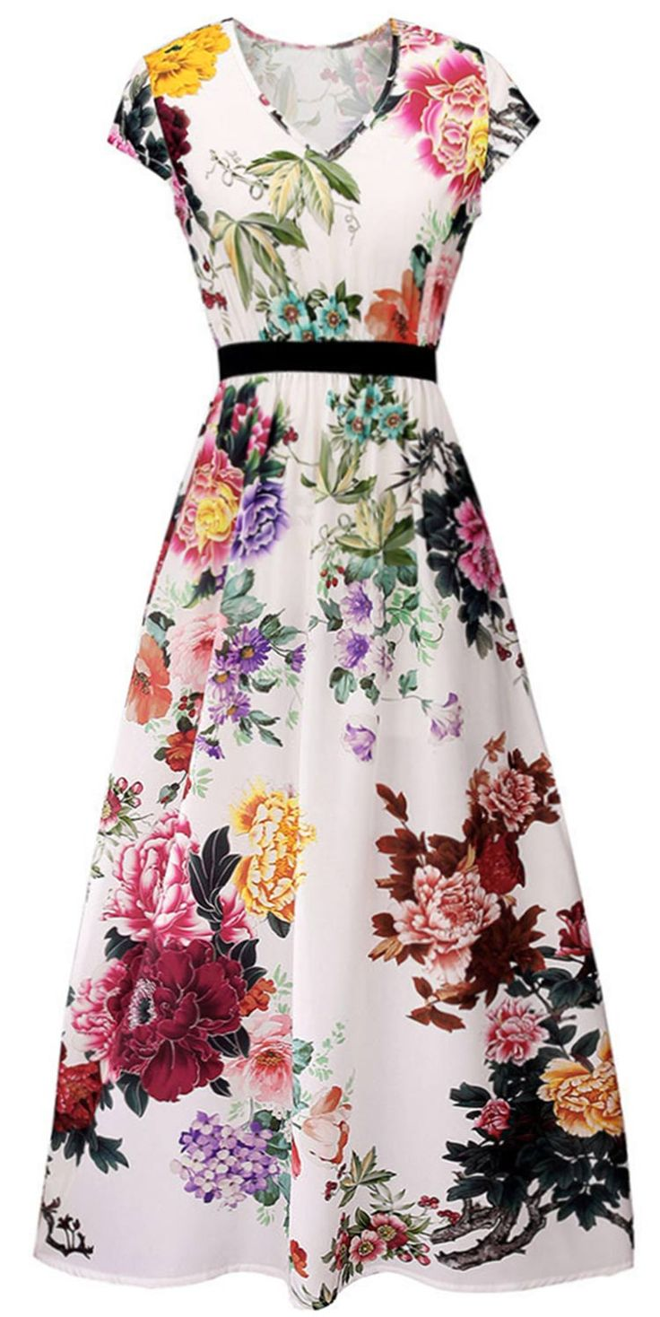 $23.99 Only with free shipping&easy return! Who wants just a bouquet? We'll take the whole garden, thanks. This floral maxi dress is detailed with elastic waist&v-neck! Keep it elegant&chic at Cupshe.com