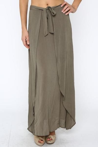 That's A Wrap Olive Maxi Skirt. Feels like a wrap skirt version of fishermen pants. Love the simple curve to the edges.